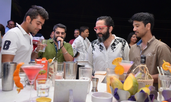 Nolan judging the cocktail competition with Aziz Lalwani and Viren Sinh